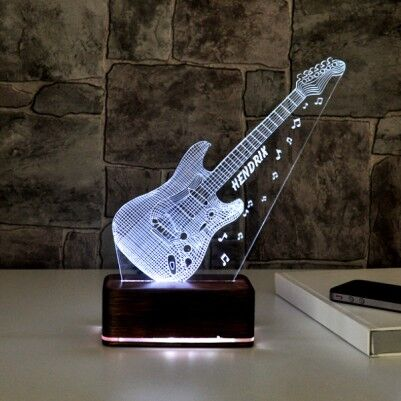 3 Boyutlu Gitar Tasarımlı LED Lamba - Thumbnail