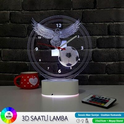 3 Boyutlu Kara Kartal LED Lamba Saat - Thumbnail