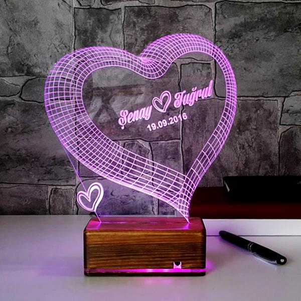 3 Boyutlu LED Lamba Kişiye Özel Kalpli