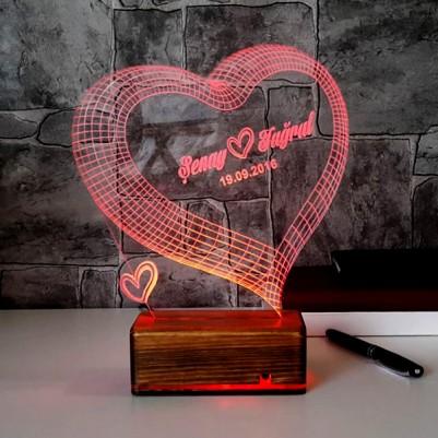 3 Boyutlu LED Lamba Kişiye Özel Kalpli - Thumbnail