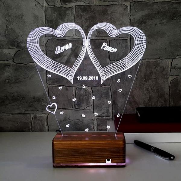 3 Boyutlu Led Lamba Romantik Kalpli