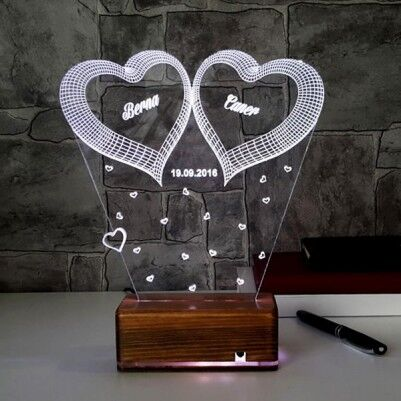 3 Boyutlu Led Lamba Romantik Kalpli - Thumbnail