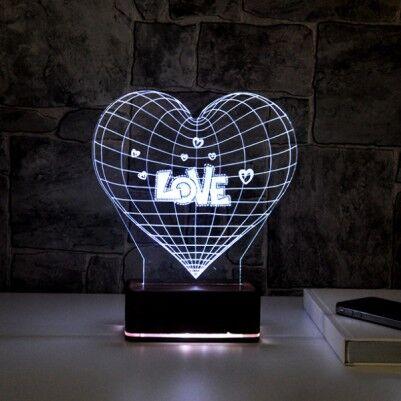 3 Boyutlu Love LED Lamba - Thumbnail