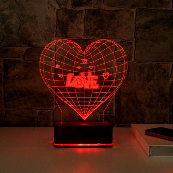 3 Boyutlu Love LED Lamba