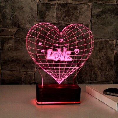 - 3 Boyutlu Love LED Lamba
