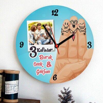 - 3 Kafadar Fotoğraflı Duvar Saati
