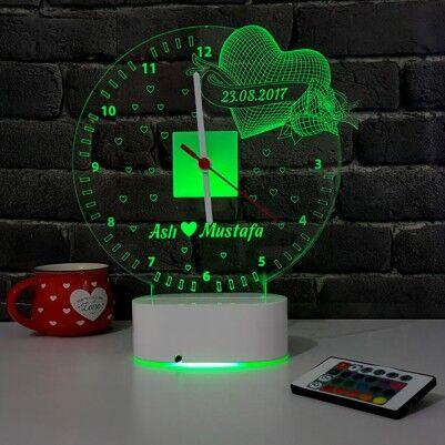 3D Kişiye Özel Romantik LED Lamba Saat - Thumbnail