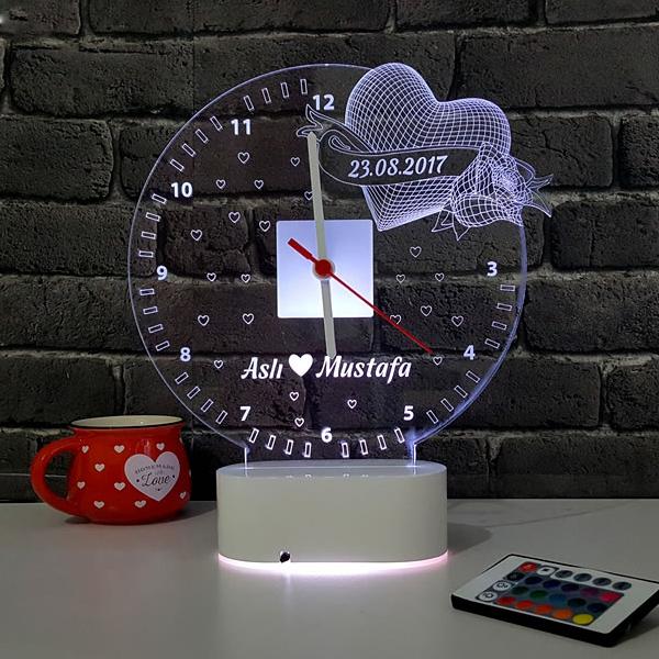 3D Kişiye Özel Romantik LED Lamba Saat