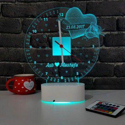 - 3D Kişiye Özel Romantik LED Lamba Saat