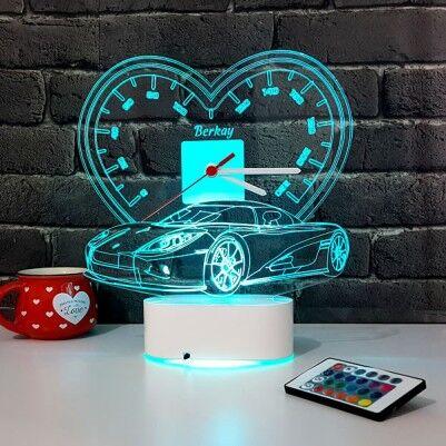 - 3D Kişiye Özel Spor Araba LED Lamba Saat