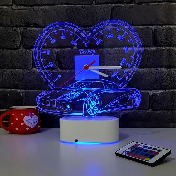 3D Kişiye Özel Spor Araba LED Lamba Saat
