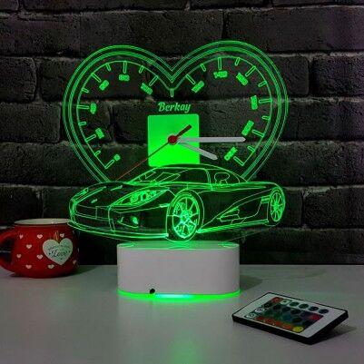 3D Kişiye Özel Spor Araba LED Lamba Saat - Thumbnail