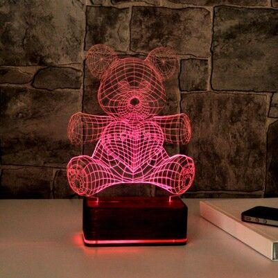 3D Sevimli ve Romantik Ayıcık Lamba - Thumbnail