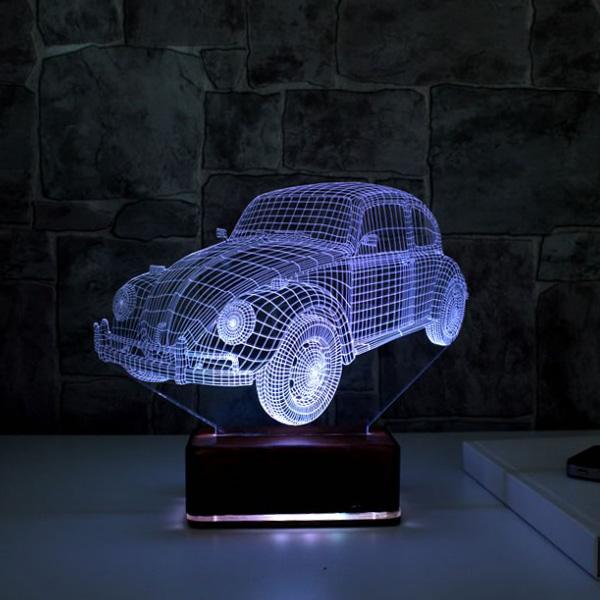 3D Vosvos LED Lamba Ahşap Kaideli