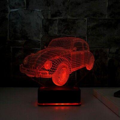 3D Vosvos LED Lamba Ahşap Kaideli - Thumbnail
