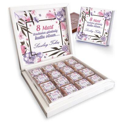 - 8 Mart Kadınlar Günü Çiçek Motifli Çikolatalar