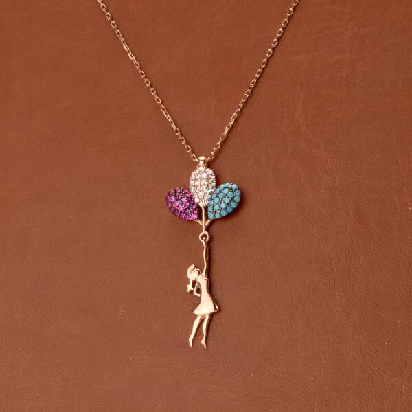 925 Ayar Balonlu Kız Gümüş Kolye