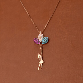 - 925 Ayar Balonlu Kız Gümüş Kolye
