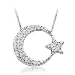 925 Ayar Gümüş Ay Yıldızlı Kolye - Thumbnail