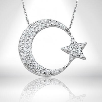 - 925 Ayar Gümüş Ay Yıldızlı Kolye