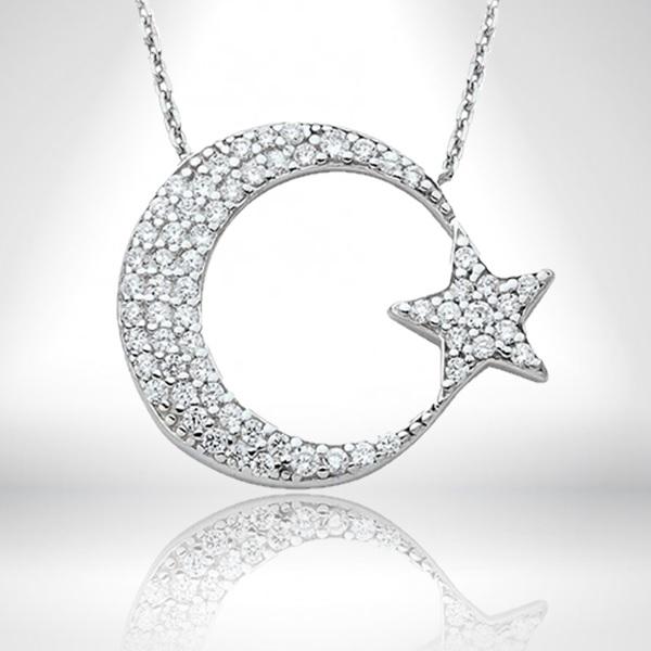 925 Ayar Gümüş Ay Yıldızlı Kolye