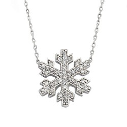 925 Ayar Kar Tanesi Gümüş Kolye - Thumbnail