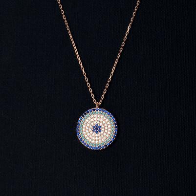 - 925 Ayar Zirkon Taşlı Mavi Gümüş Kolye