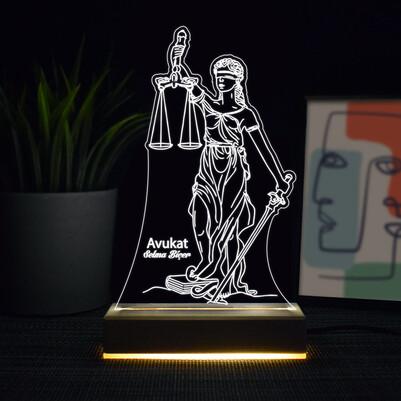 - Adalet Tanrıçası 3d Led Lamba