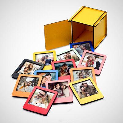 - Ahşap Kutulu 12 Renkli Mini Polaroid Çerçeve