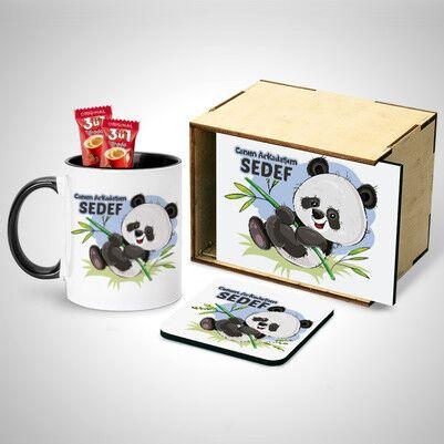- Ahşap Kutulu Sevimli Panda Bardak ve Altlık Seti