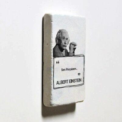 Albert Einstein Esprili Taş Buzdolabı Magneti - Thumbnail