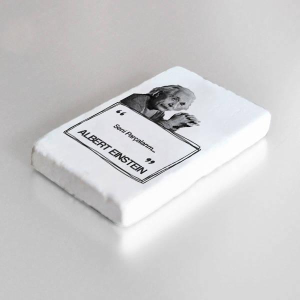 Albert Einstein Esprili Taş Buzdolabı Magneti