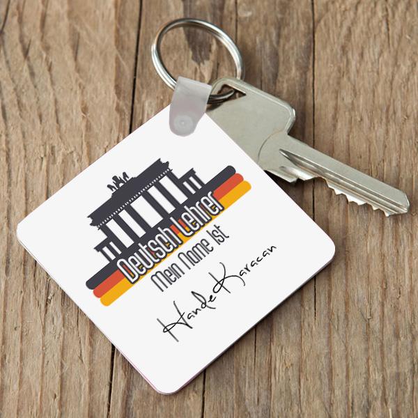 Almanca Öğretmenlerine Özel Kare Anahtarlık