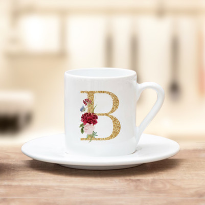 - Altın Varak Efektli Harf Kahve Fincanı