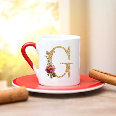 Altın Varak Efektli Harf Kahve Fincanı - Thumbnail