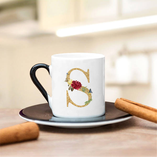 Altın Varak Efektli Harf Kahve Fincanı