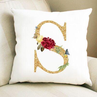 - Altın Varak Efektli Harf Yastık