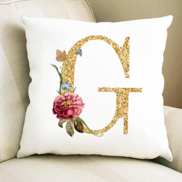 Altın Varak Efektli Harf Yastık
