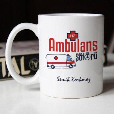 Ambulans Şoförleri İçin Hediyelik Kupa Bardak - Thumbnail