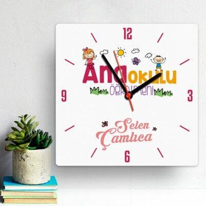 - Anaokulu Öğretmenlerine Özel Kare Duvar Saati