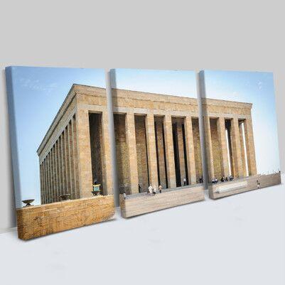 - Anıtkabir Tasarımlı 3 Parça Kanvas Tablo