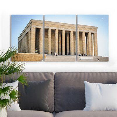 Anıtkabir Tasarımlı 3 Parça Kanvas Tablo - Thumbnail