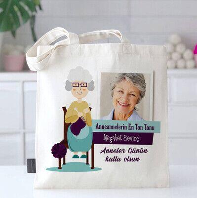 Anneannelere Özel Fotoğraflı Bez Çanta - Thumbnail