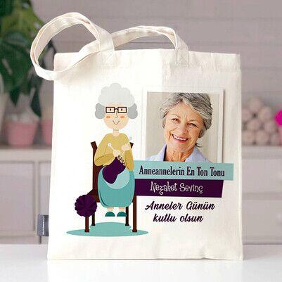 - Anneannelere Özel Fotoğraflı Bez Çanta