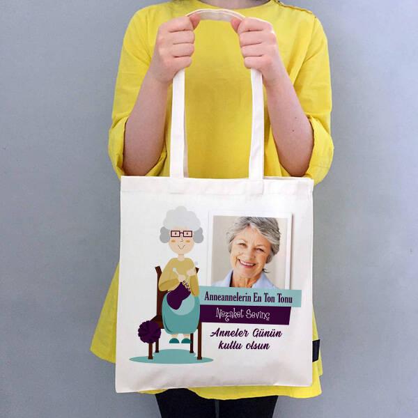 Anneannelere Özel Fotoğraflı Bez Çanta