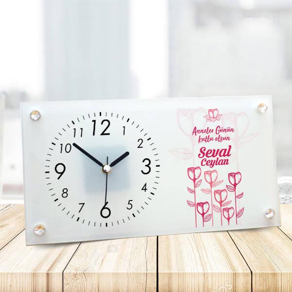 Anneler Günü Mesajlı Özel Cam Masa Saati