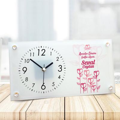 - Anneler Günü Mesajlı Özel Cam Masa Saati