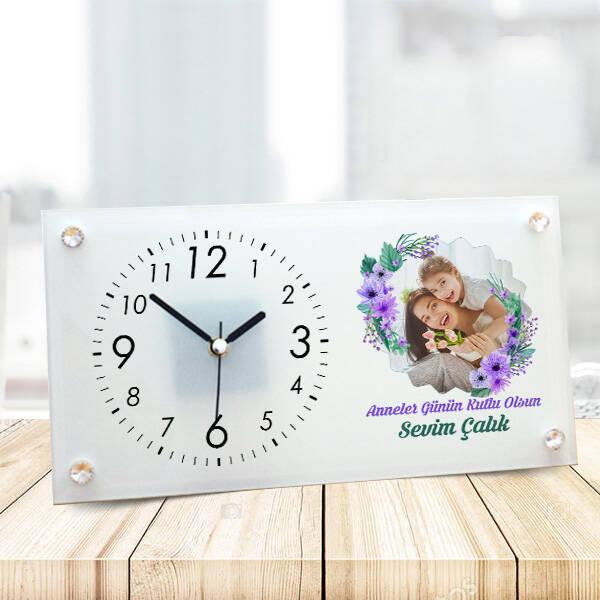 Anneler Günü Tasarımlı Fotoğraflı Cam Masa Saati