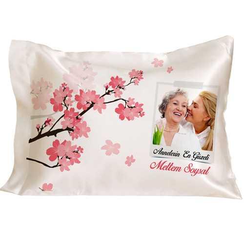 Annelere Özel Fotoğraflı Çiçek Desenli Yastık