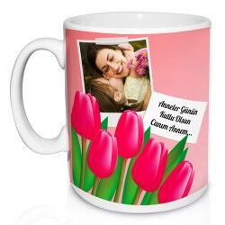 - Annelere Özel Fotoğraflı ve Laleli Kupa Bardak